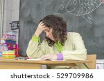 tired and stressed teacher in... | Shutterstock . vector #529709986