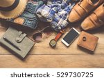 clothing for men on the wooden ... | Shutterstock . vector #529730725