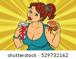 young woman drinking cola and...   Shutterstock .eps vector #529732162