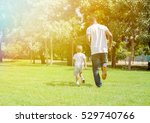 father and son running and... | Shutterstock . vector #529740766