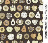 vector mixed fruit seamless... | Shutterstock .eps vector #529742722