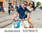young beautiful hipster couple... | Shutterstock . vector #529784575