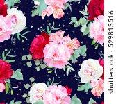 navy floral seamless vector... | Shutterstock .eps vector #529813516