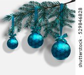 blue christmas tree branches on ... | Shutterstock .eps vector #529846828