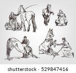 horses. hand drawn set. hand... | Shutterstock .eps vector #529847416