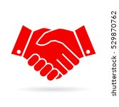 handshake vector icon on white... | Shutterstock .eps vector #529870762