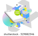 mobile phone icon with trendy... | Shutterstock .eps vector #529882546