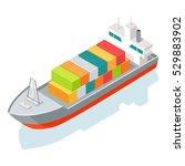 cargo ship or container... | Shutterstock .eps vector #529883902