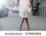 elegant woman walking with...   Shutterstock . vector #529884886