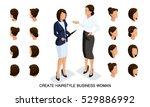 isometric business woman set 5... | Shutterstock .eps vector #529886992