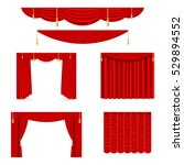 vector set of red silk curtains ... | Shutterstock .eps vector #529894552