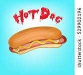 hot dog sandwich with ketchup... | Shutterstock .eps vector #529902196