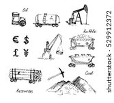 hand drawn resource mining set. ... | Shutterstock .eps vector #529912372