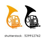 golden french horn icon with... | Shutterstock .eps vector #529912762