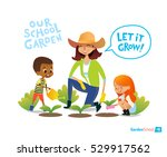 gardening with kids. eco... | Shutterstock .eps vector #529917562