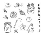 hand drawn set of graphic... | Shutterstock . vector #529934278