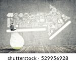 glass glowing light bulb and... | Shutterstock . vector #529956928