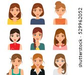set of avatar of woman... | Shutterstock .eps vector #529962052
