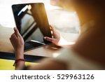 close up hipster girl using... | Shutterstock . vector #529963126