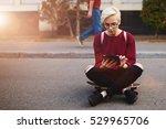 trendy hipster girl waiting for ... | Shutterstock . vector #529965706
