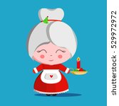 happy mrs. claus with candle... | Shutterstock .eps vector #529972972