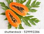 papaya fruit on wooden... | Shutterstock . vector #529992286