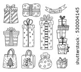 set of hand drawn christmas and ... | Shutterstock .eps vector #530004145