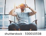 attractive bearded man... | Shutterstock . vector #530010538