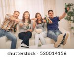 four cheerful friends hanging... | Shutterstock . vector #530014156