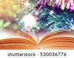 open book with christmas... | Shutterstock . vector #530036776