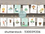 colorful cute monthly calendar... | Shutterstock .eps vector #530039206