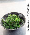 Small photo of Japanese cuisine, fried mustard spinach called Komatsuna