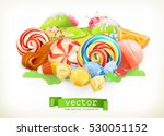 sweet shop. swirl candy ... | Shutterstock .eps vector #530051152