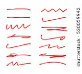 red hand drawn brush lines ... | Shutterstock .eps vector #530059942