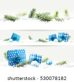 set of three christmas borders... | Shutterstock .eps vector #530078182