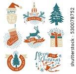 christmas colored vintage logos ...