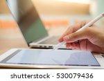 close up artist finger hand... | Shutterstock . vector #530079436