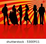 fashion silhouettes girls and... | Shutterstock .eps vector #5300911