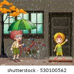 rainy season with two boys in... | Shutterstock .eps vector #530100562