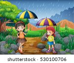 rainy season with two girls in... | Shutterstock .eps vector #530100706