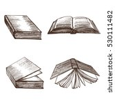 Books Hand Draw Sketch. Vector