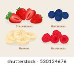 set of sliced fruit and berries.... | Shutterstock .eps vector #530124676