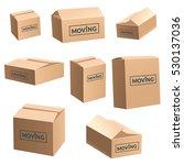 moving cardboard box on white... | Shutterstock .eps vector #530137036