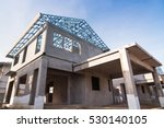 The  building structure are made from prefabrication system.All pieces are made from high-strength concrete.Then assembled into a building. - stock photo