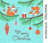 merry christmas. cute little... | Shutterstock .eps vector #530140906