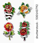 vector traditional tattoo roses ... | Shutterstock .eps vector #530143792