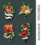 vector traditional tattoo roses ... | Shutterstock .eps vector #530143822