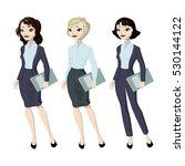 three cartoon business woman... | Shutterstock .eps vector #530144122