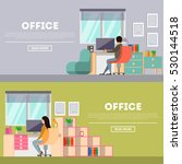 office work banners set. with... | Shutterstock . vector #530144518