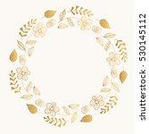 golden fancy round frame.... | Shutterstock .eps vector #530145112